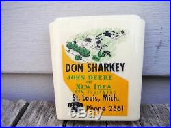 Vintage Don Sharkey John Deere Bullet Pencil Holder Sign St. Louis Michigan