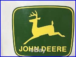 Vintage Double Sided Metal John Deere Dealership Sign