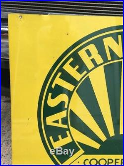 Vintage Eastern States Cooperative Metal Sign Farm Country Decor Tractor Horse