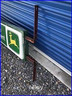 Vintage Embossed Metal John Deere Dealership 2 Sided Service Sign 50X14