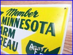 Vintage Farm Sign Minnesota State Farm Bureau Feed Seed Ranch John Deere Green