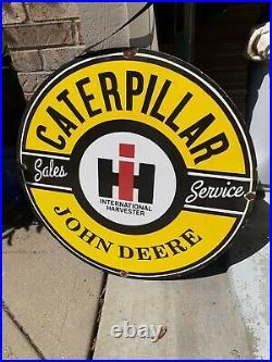 Vintage International Harvester John Deere Dealer Sign Caterpillar Rare 30 inch