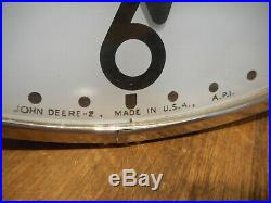 Vintage JOHN DEERE Dealer Lighted TELECHRON ELECTRIC WALL CLOCK 1950's Sign