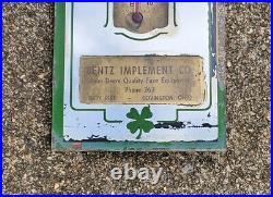 Vintage JOHN DEERE Farm Implement Dealer Lucky Mirror Advertising Thermometer