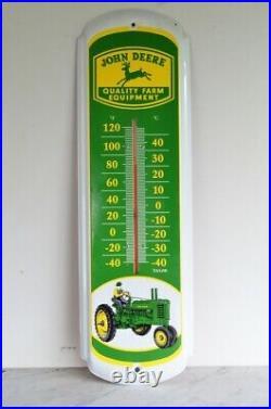 Vintage JOHN DEERE Quality Farm Equipment Advertising Metal Thermometer Sign