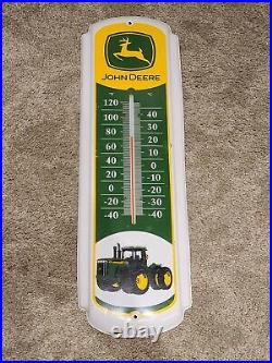 Vintage JOHN DEERE Tractors Metal Store Advertising 27 Wall Thermometer Sign