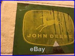 Vintage JOHN DEERE logo metal sign 21 x 15 four legged deer emblem Heavy