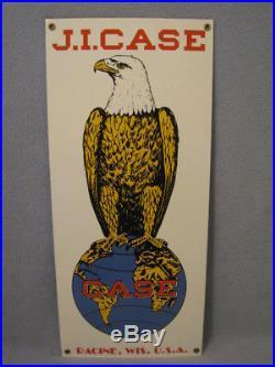 Vintage J. I. Case Porcelain Sign With Eagle