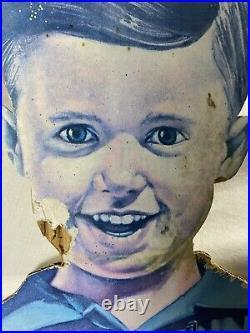 Vintage John Deere Boy Tractor Dog Advertising Sign Standing Cardboard Cut Out