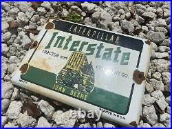 Vintage John Deere Caterpillar Tractor Porcelain Farm Ranch Agriculture Sign