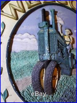Vintage John Deere Chalkware Plaque Welcome! 3D