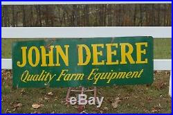 Vintage John Deere Dealer Farm Equipment Porcelain Sign 24 X 72