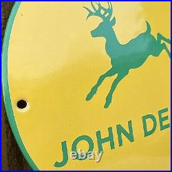 Vintage John Deere Dome Porcelain Metal Sign Farm Tractors Agriculture Farming