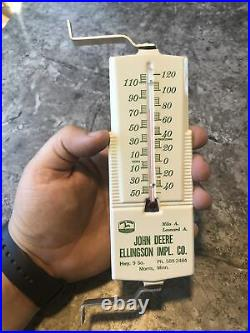 Vintage John Deere Ellingson Morris Minn 4 Legged Deer tin sign thermometer