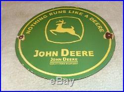 Vintage John Deere Farm Equipment 12 Porcelain Metal Tractor Gasoline Oil Sign