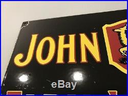 Vintage John Deere Farm Implement Porcelain Sign Gas Oil Tractor Combine Barn Ih
