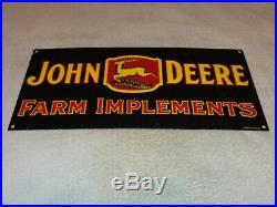 Vintage John Deere Farm Implements 18 Porcelain Metal Tractor Gasoline Oil Sign