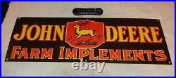 Vintage John Deere Farm Implements 36 X 12 Porcelain Metal Gasoline & Oil Sign