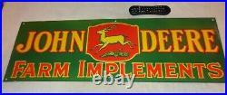 Vintage John Deere Farm Implements 36 X 12 Porcelain Metal Gasoline Oil Sign 2