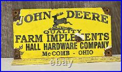 Vintage John Deere Farm Implements Porcelain Sign Tractor Diesel Quality Gas Oil