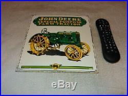 Vintage John Deere Farm Tractor 10 Porcelain Metal Gasoline Oil Implement Sign