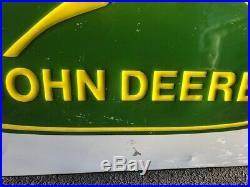 Vintage John Deere Farm Tractor Dealership 42 Embossed Metal Sign 38x42