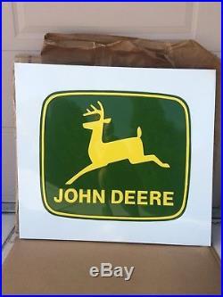 Vintage John Deere Farm Tractor Dealership 42 Embossed Metal Sign WithBoxNice