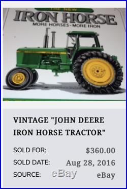 Vintage John Deere Farm Tractor Moline Illinois 12 Porcelain Metal Gas Oil Sign