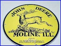 Vintage John Deere Farming Equipment Advertising Porcelain 12 Gas & Oil Sign