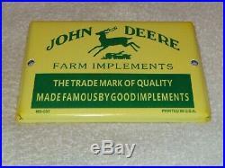 Vintage John Deere Fram Implements Tractors 7 Porcelain Metal Gasoline Oil Sign