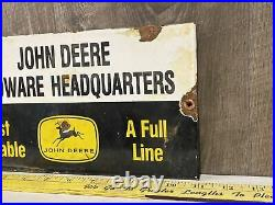 Vintage John Deere Hardware Headquarters Porcelain Sign Farm Tractor Gas Oil