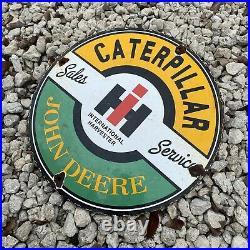 Vintage John Deere Intl Harvester Porcelain Metal Sign Caterpillar Farm Tractor
