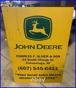 Vintage John Deere Metal Dealer Sign Farm Tractor Advertising Rare Dealership
