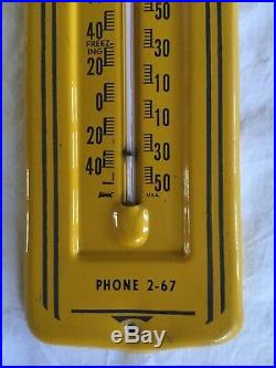 Vintage John Deere Metal Thermometer Original Advertising Farm Tractor Emplement