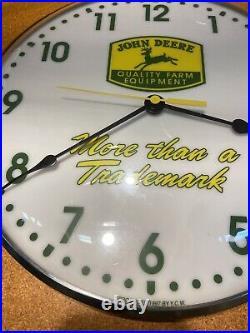 Vintage John Deere Nothing Runs Like A Deere Wall Clock Glass Battery Powered