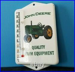 Vintage John Deere Porcelain Farm Equipment Gas Auto Ad Sign Service Thermometer