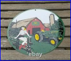 Vintage John Deere Porcelain Farm Gas Tractor Implements Barn Sales Service Sign