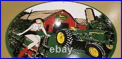 Vintage John Deere Porcelain Farm Tractor Implements Barn Sales Service Sign