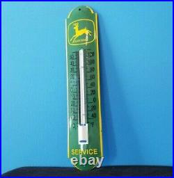 Vintage John Deere Porcelain Gas Automobile Farm Tractor Ad Sign Thermometer