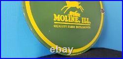 Vintage John Deere Porcelain Gas Farm Implements Service Moline ILL Tractor Sign