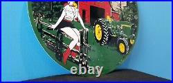 Vintage John Deere Porcelain Gas Farm Implements Service Sales Tractor Sign