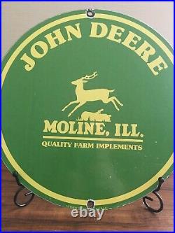 Vintage John Deere Porcelain Gas Farm Implements Service Tractor Sign