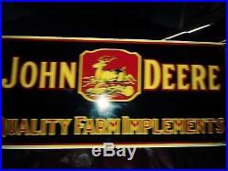 Vintage John Deere Porcelain Gas Motor Oil Service Station Farm Implements Sign