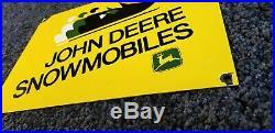 Vintage John Deere Porcelain Gas Snowmobiles Service Station Pump Plate Sign