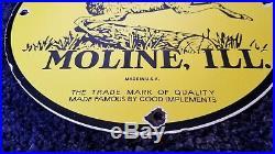 Vintage John Deere Porcelain Metal Illinois Tractor Farm Dealership Service Sign