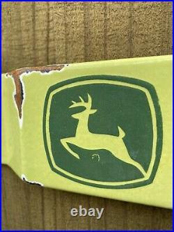 Vintage John Deere Porcelain Sign Door Push Bar Oil Gas Station Tractor Farm 32