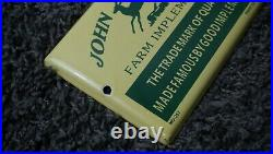 Vintage John Deere Porcelain Sign Gas Motor Oil Metal Pump Station Gasoline Push