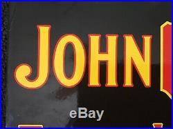 Vintage John Deere Porcelain Sign Gas Oil Farming Tractor Pump Plate Rare Motors