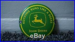 Vintage John Deere Porcelain Sign Gas Oil Metal Service Station Pump Farm Corn