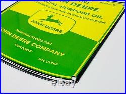 Vintage John Deere Porcelain Sign Gas Oil Station Pump Plate Farming Tractor